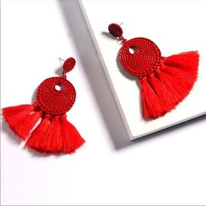 Boho Spice Red Fringe Disc Drop Earrings